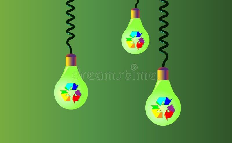 Att hänga på kablar tre ljusa kulor på en grön bakgrund, på dem där är regnbågeåtervinning, den återanvända symbolen, eco Återanv vektor illustrationer