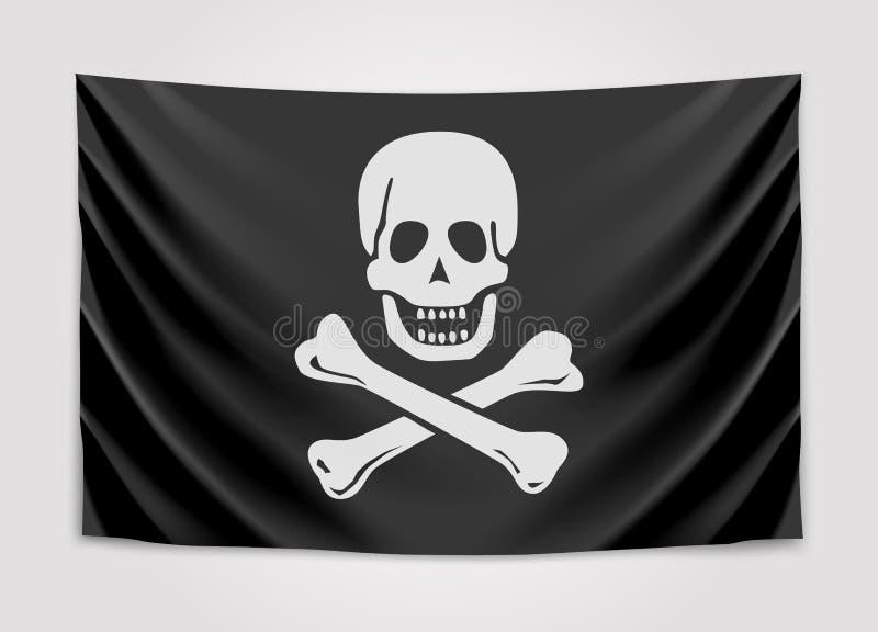 Att hänga piratkopierar flaggan också vektor för coreldrawillustration vektor illustrationer