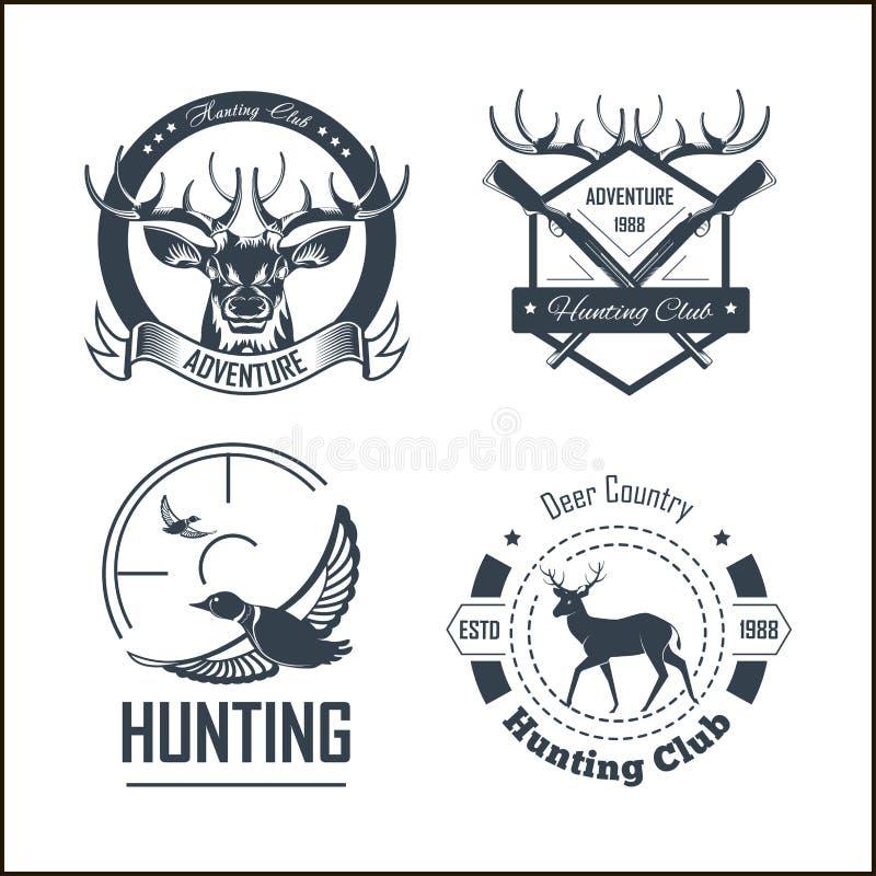 Att jaga mallar för klubba- eller jaktaffärsföretaglogo ställde in stock illustrationer