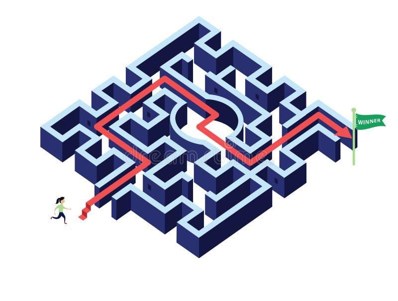 Att köra för kvinna följer pilriktning i labyrint/labyrint stock illustrationer