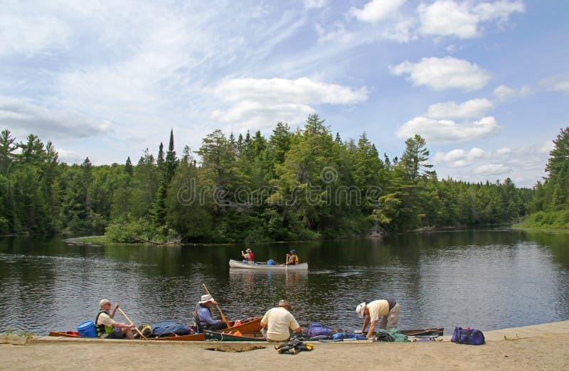 Att kanota i provinsiell Algonquin parkerar royaltyfria foton