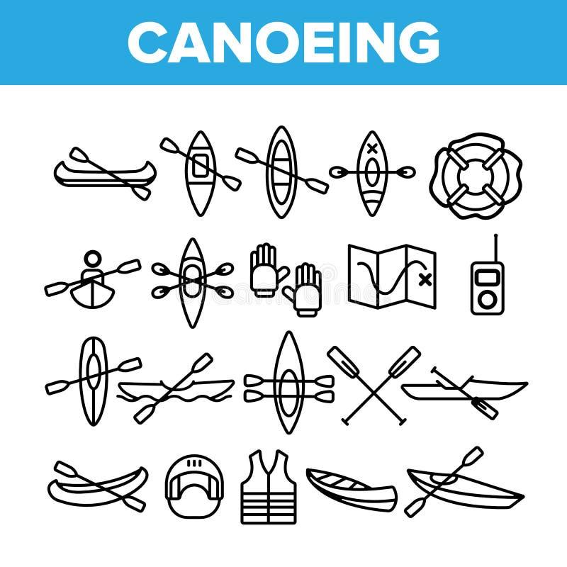 Att kanota som är aktivt vilar den tunna linjen symbolsuppsättning för vektorn royaltyfri illustrationer