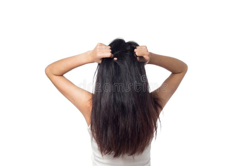 Att klia för kvinnor skalperar kliande hans hår arkivbilder