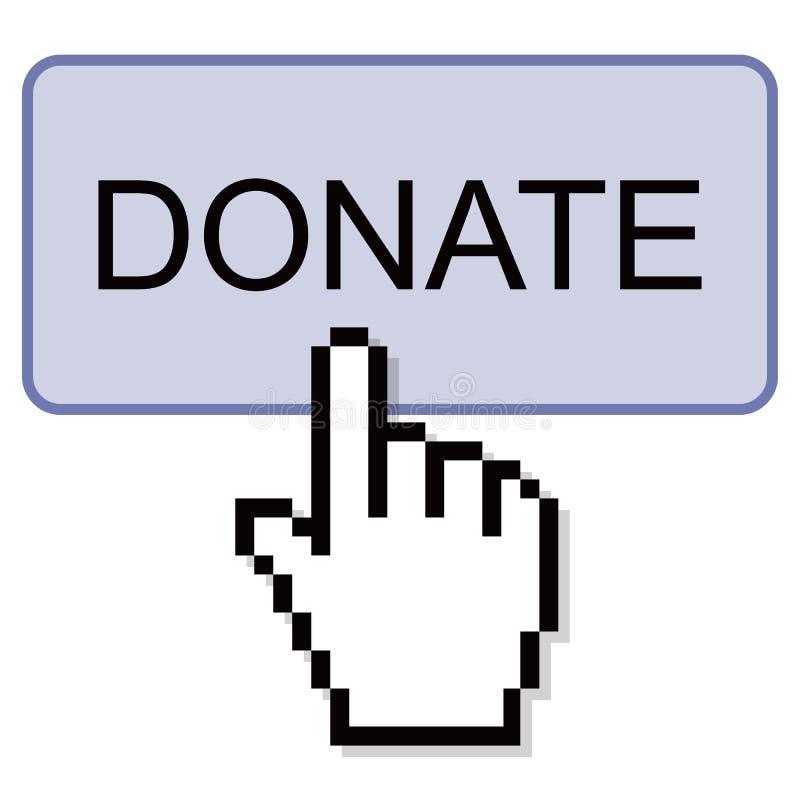 Att klicka för hand donerar knappen stock illustrationer