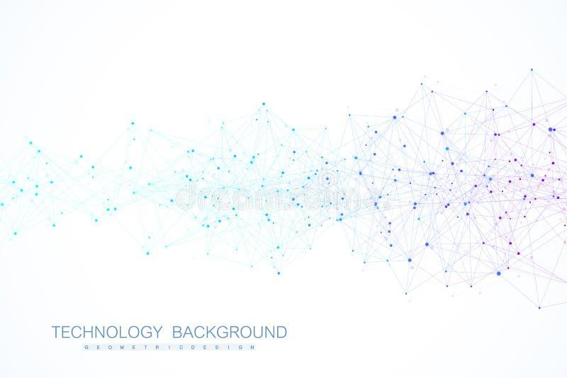 Att knyta kontakt förbinder abstrakt begrepp för teknologi Anslutningar för globalt nätverk med punkter och linjer royaltyfri illustrationer