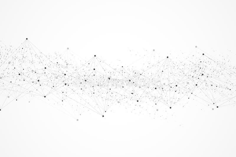 Att knyta kontakt förbinder abstrakt begrepp för teknologi Anslutningar för globalt nätverk med punkter och linjer stock illustrationer