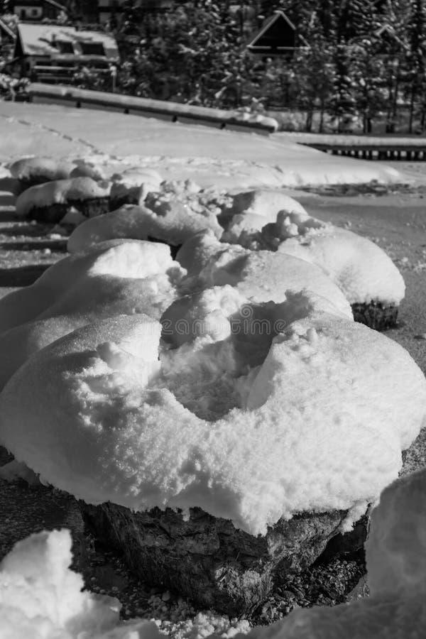 Att korsa den fryste sjön på snöig vaggar i scenisk idyll för vinter i Kranjska Gora i svartvitt, Slovenien arkivfoto