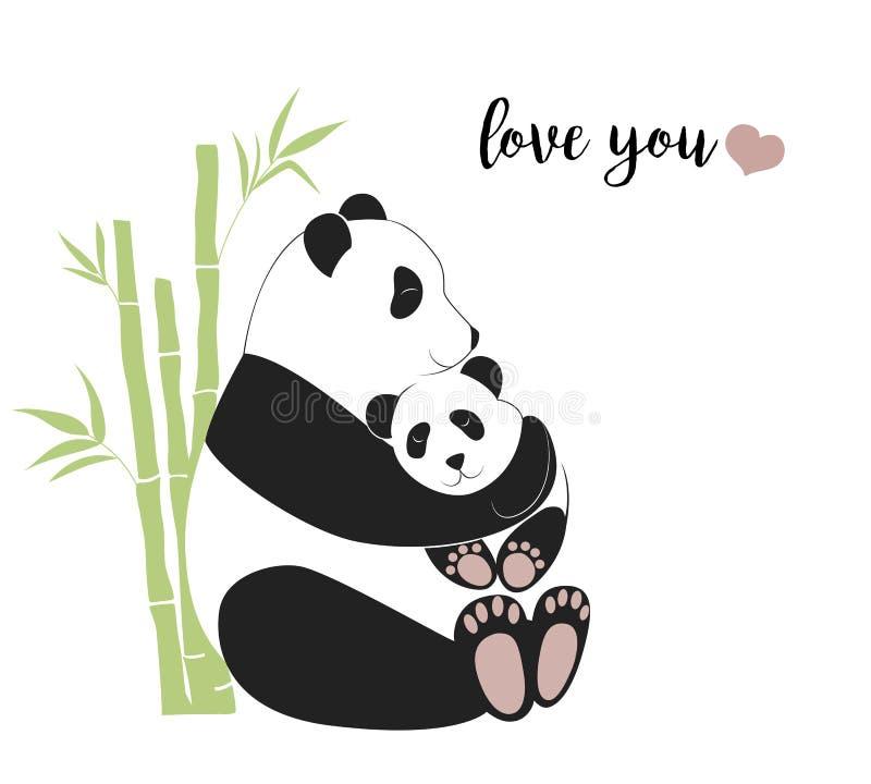 Att krama för pandamoder behandla som ett barn pandan, vektorillustration royaltyfri illustrationer