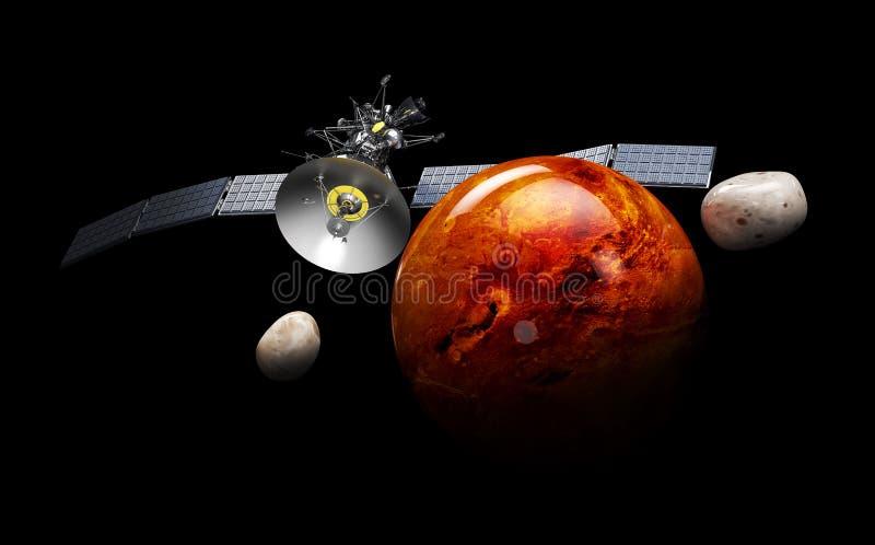 Att kretsa kring för satellit fördärvar illustration 3d, på svart bakgrund stock illustrationer