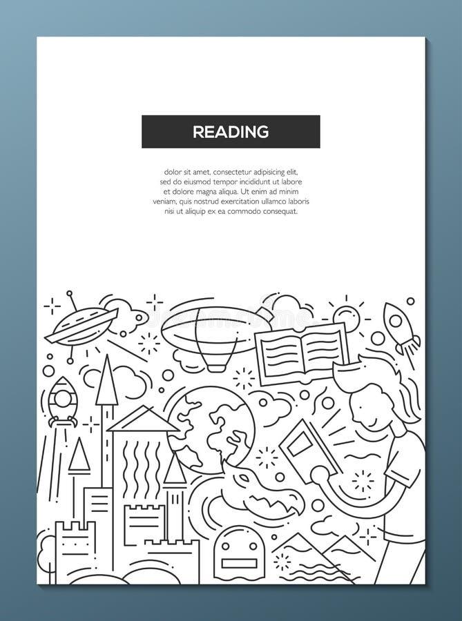 Att läsa - fodra mallen A4 för designbroschyraffischen stock illustrationer