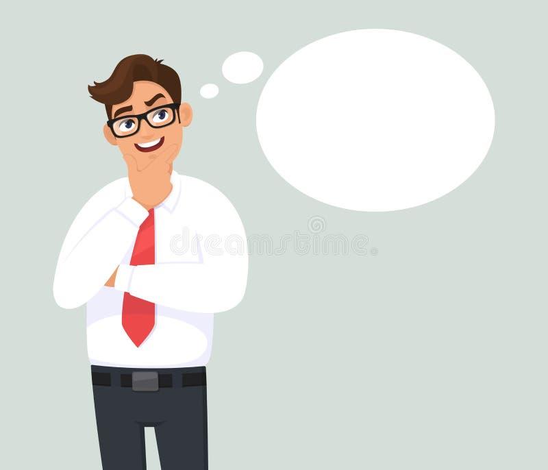 Att le den fundersamma unga affärsmannen är tänka och se upp Mellanrum/tom tänkt bubbla M?nsklig sinnesr?relse, ansiktsuttryck stock illustrationer