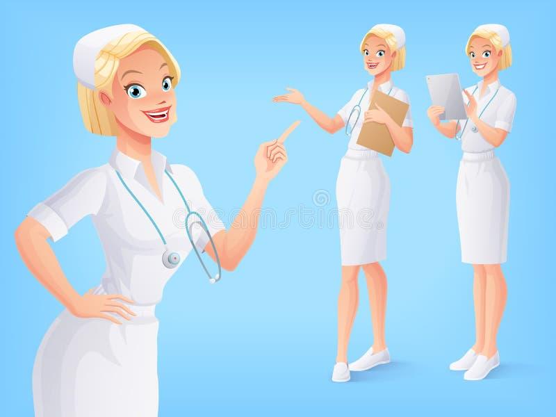 Att le den medicinska sjuksköterskan i likformig i olikt poserar vektor för set för tecknad filmhjärtor polar royaltyfri illustrationer