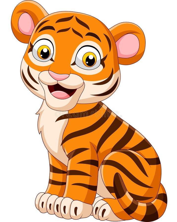 Att le för tecknad film behandla som ett barn tigersammanträde stock illustrationer