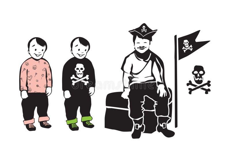Att le piratkopierar sammanträde på skattbröstkorg med partiet kopplar samman bröder stock illustrationer