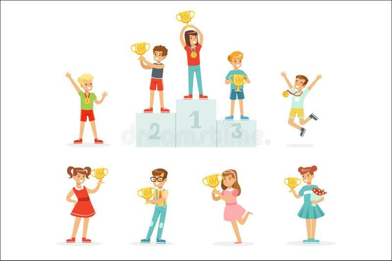 Att le unga pojkar och flickor som firar deras medaljer och vinnarekoppar, ställde in för etikettdesign Detaljerat färgrikt för t stock illustrationer