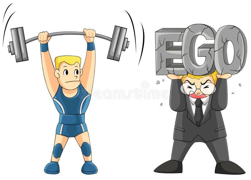Att lyfta din EGO är tungt stock illustrationer