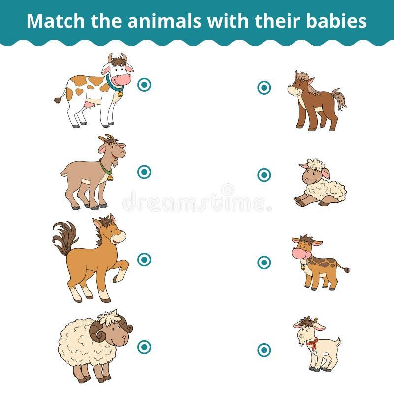 Att matcha leken för barn, lantgårddjur och behandla som ett barn stock illustrationer