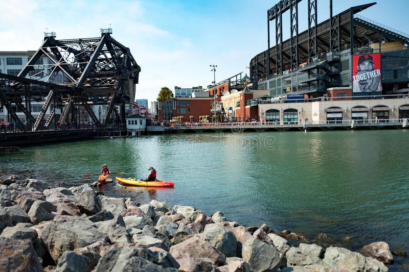 ATT Park. San Francisco, California, United States - August 21, 2016: Kayaks in McCovey Cove near ATT park, San Francisco, California, August 21, 2016 stock photo