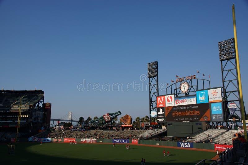 ATT Park San Francisco tijdens Warm omhoog royalty-vrije stock afbeeldingen