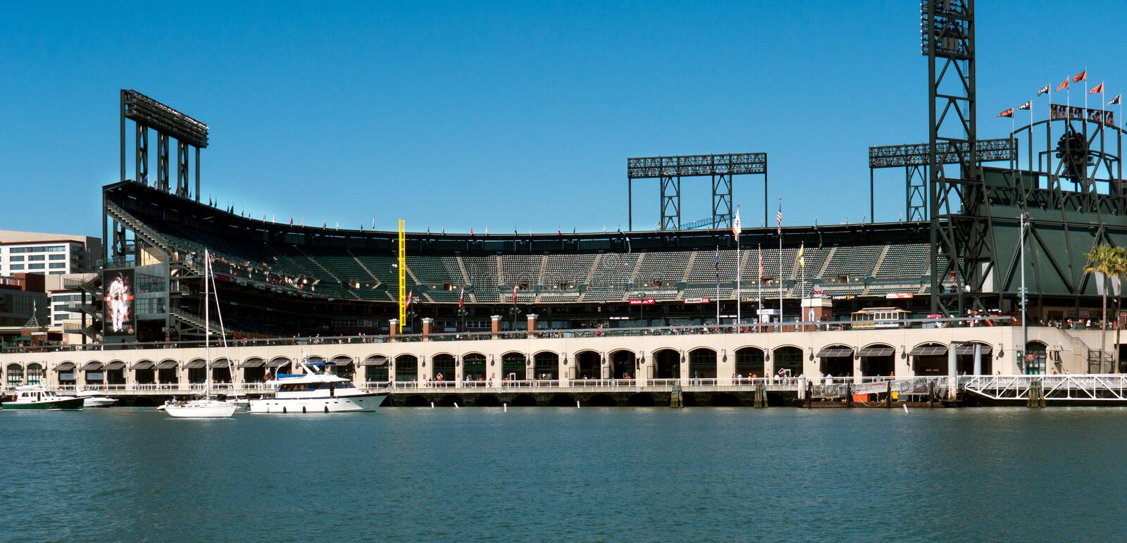 ATT Park Stadium San Francisco California. Photo taken from the Bay royalty free stock photos