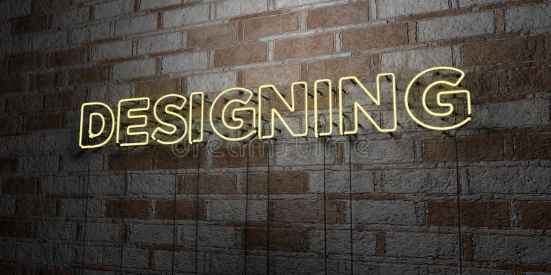 ATT PLANLÄGGA - Glödande neontecken på stenhuggeriarbeteväggen - 3D framförde den fria materielillustrationen för royalty stock illustrationer