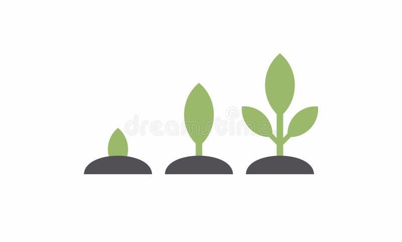 Att plantera kärnar ur grodden i jordning stock illustrationer