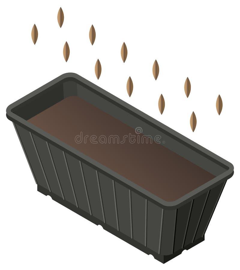 Att plantera kärnar ur i ask med jordning för plantor Isometrisk symbol vektor illustrationer