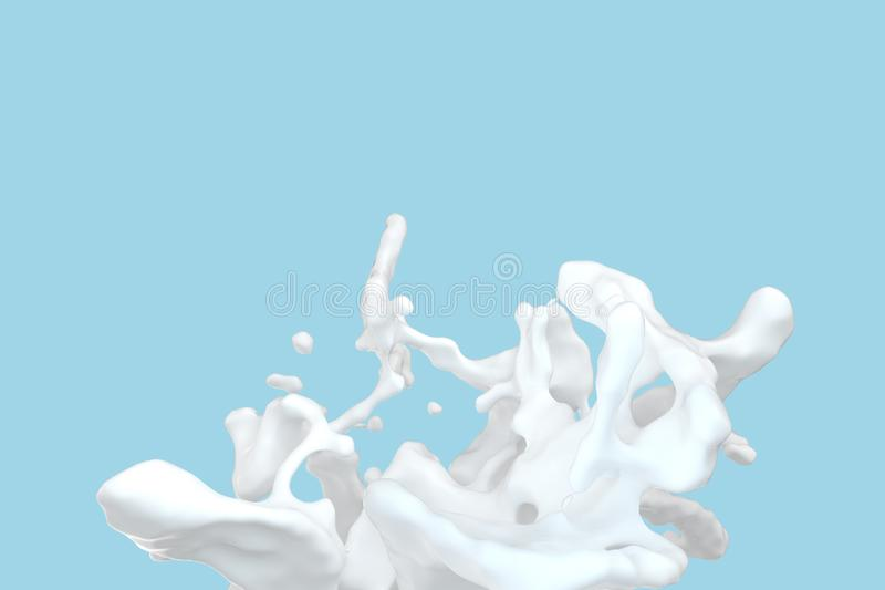 Att plaska för renhet mjölkar med blå bakgrund, tolkningen 3d stock illustrationer