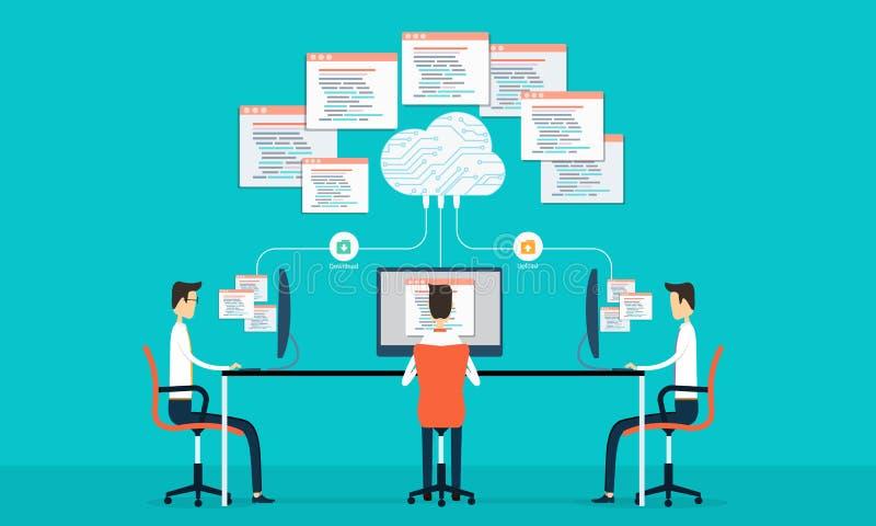 Att programmera för grupp framkallar rengöringsduk och applikation på netto arbete för moln royaltyfri illustrationer
