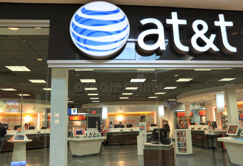 ATT Retail Store. AT&T is the largest wireless cellular phone provider in USA royalty free stock image