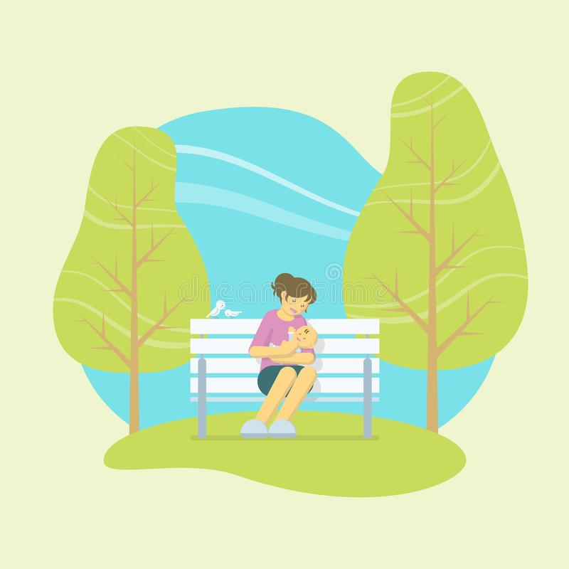 Att rymma för moder behandla som ett barn i parkerar vektor illustrationer