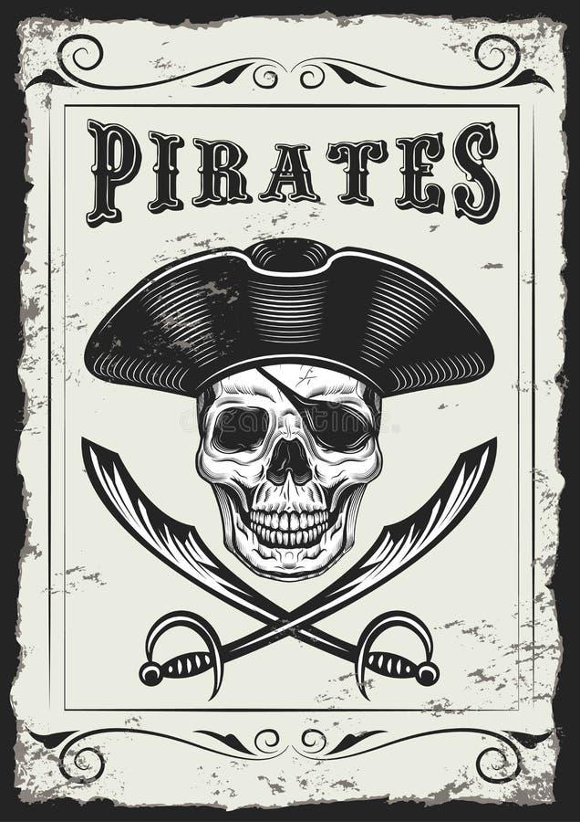 Att se för tappning inviterar mallen för ett parti eller en händelse med död eller piratkopierar royaltyfri illustrationer