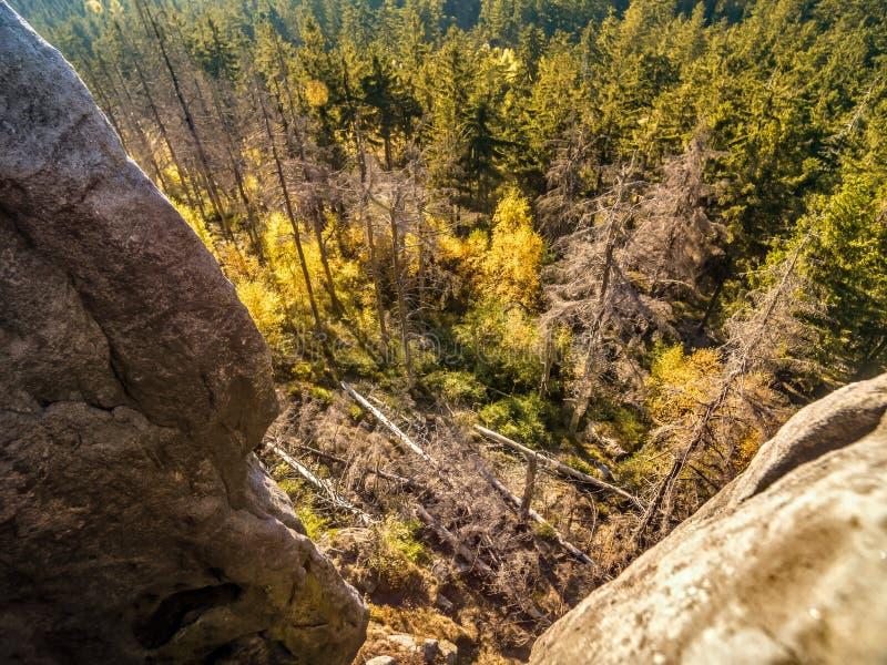 Att se nedåt från Kloof Corner i nationalparken Bordsberg i Polen arkivbilder