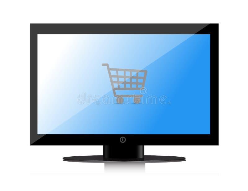 Att shoppa direktanslutet övervakar royaltyfri illustrationer