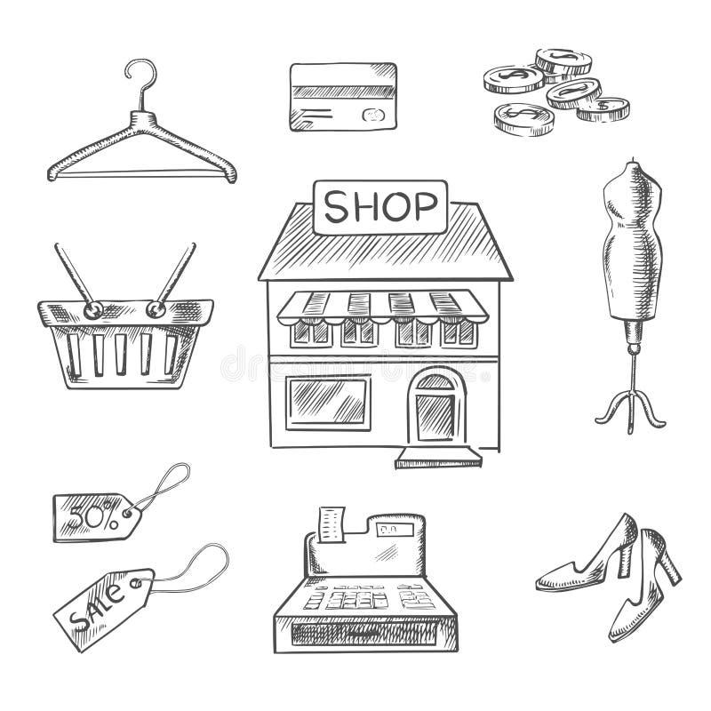 Att shoppa och detaljhandel skissar symboler royaltyfri illustrationer