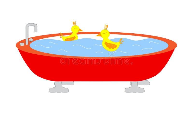att simma för änder badar royaltyfri illustrationer