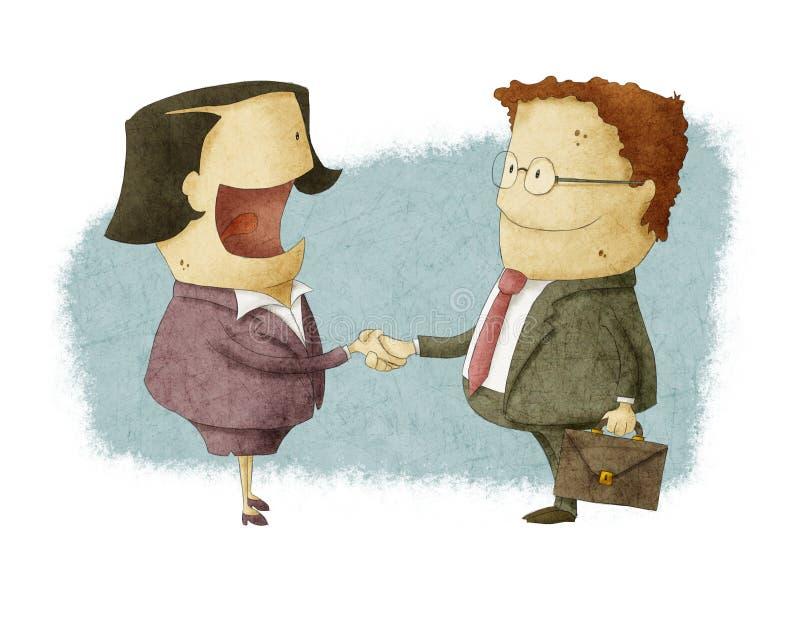 Att skaka räcker på neende överenskommelse stock illustrationer