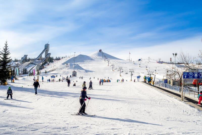 Att skida på olympiska Kanada parkerar arkivfoto