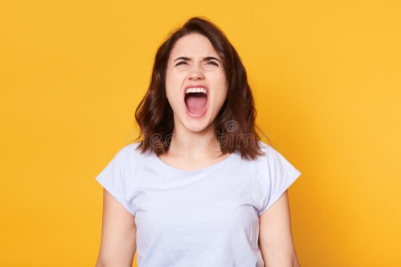 Att skrika den emotionella ilskna kvinnan poserar isplated över gul studiobakgrund, grälar med hennes make Ung kvinnlig halv läng arkivfoton