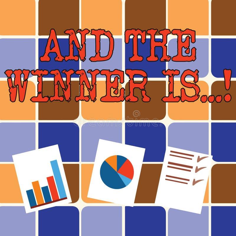 Att skriva anmärkningsvisning och vinnaren är Affärsfoto som ställer ut meddelande som fick det första stället på konkurrens elle vektor illustrationer
