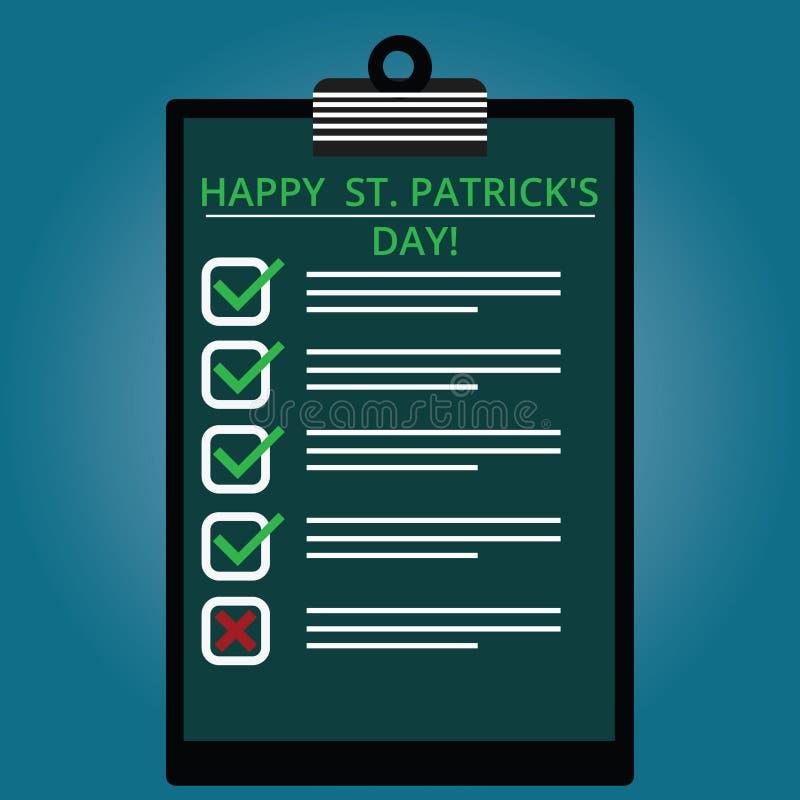Att skriva anmärkningsvisningen lyckliga St Patrick S är dagen Affärsfoto som ställer ut gröna lyckliga berlock för Irland beröm  stock illustrationer