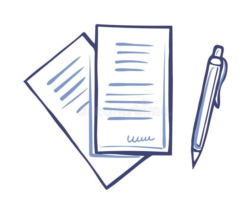 Att skriva häftet för pennan och för pappers- dokument isolerade stock illustrationer