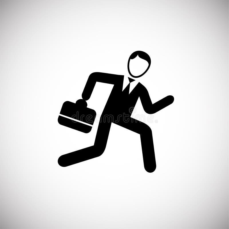 Att skynda sig affärsmannen kör på vit bakgrund stock illustrationer