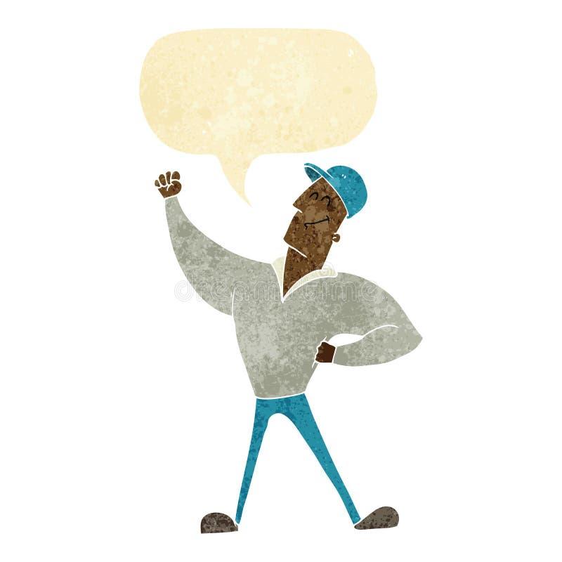 att slå för tecknad filmman som är heroiskt, poserar med anförandebubblan royaltyfri illustrationer