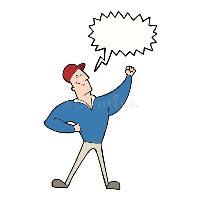 att slå för tecknad filmman som är heroiskt, poserar med anförandebubblan stock illustrationer