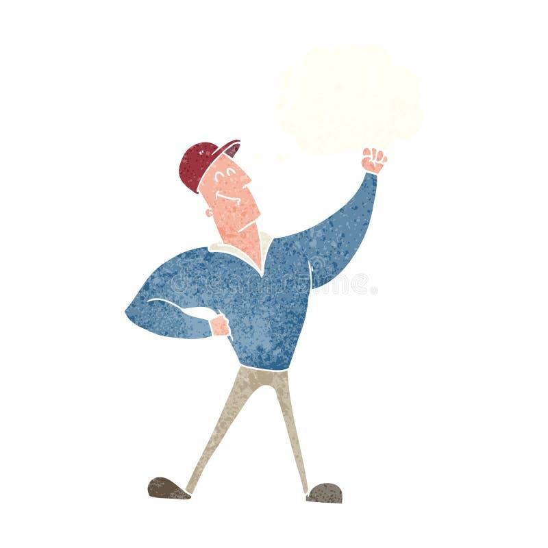 att slå för tecknad filmman som är heroiskt, poserar med tankebubblan royaltyfri illustrationer
