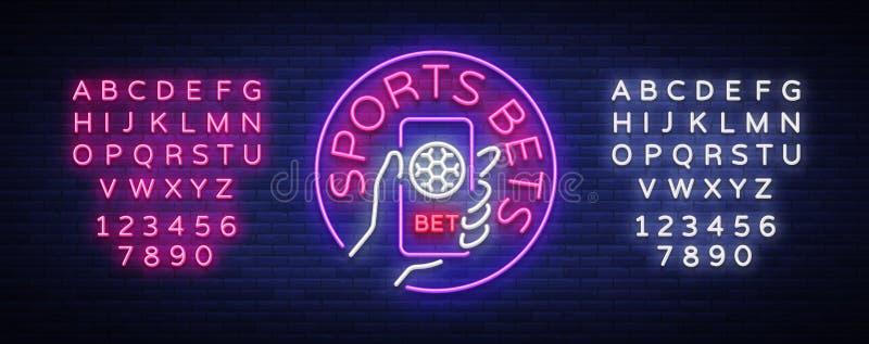 Att slå vad för sportar är ett neontecken Planlägg mallen, neonstillogoen, det ljusa banret, nattadvertizingen, smartphone i ditt vektor illustrationer