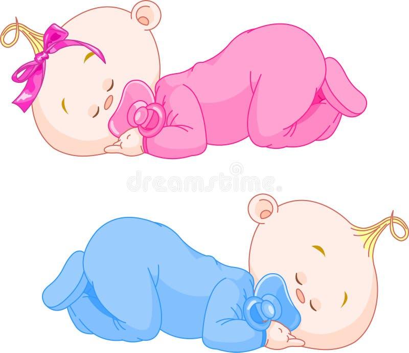 Att sova behandla som ett barn royaltyfri illustrationer