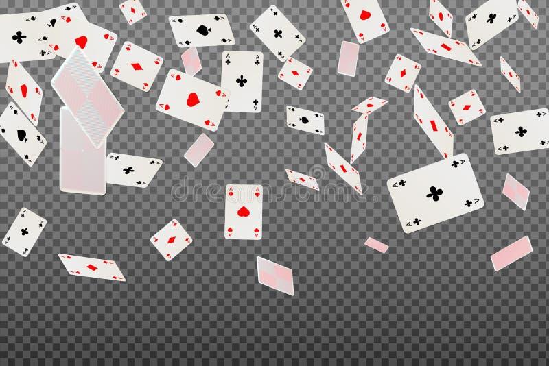 Att spela cards överdängare som faller på en genomskinlig bakgrund fotografering för bildbyråer