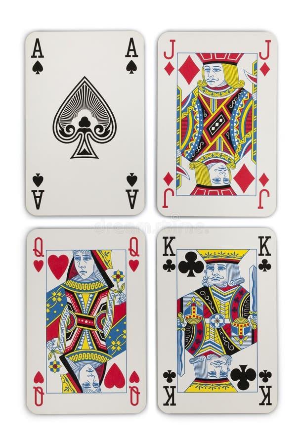 Att spela cards dräkter royaltyfria bilder